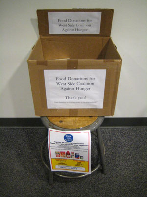 West Side Campaign Against Hunger donation box.