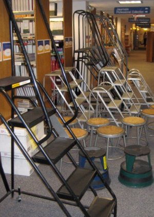 The library's ladder and stool collection
