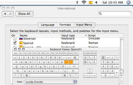 International window with keyboard viewer on top