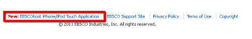 iPhone link at the bottom of EBSCOhost page