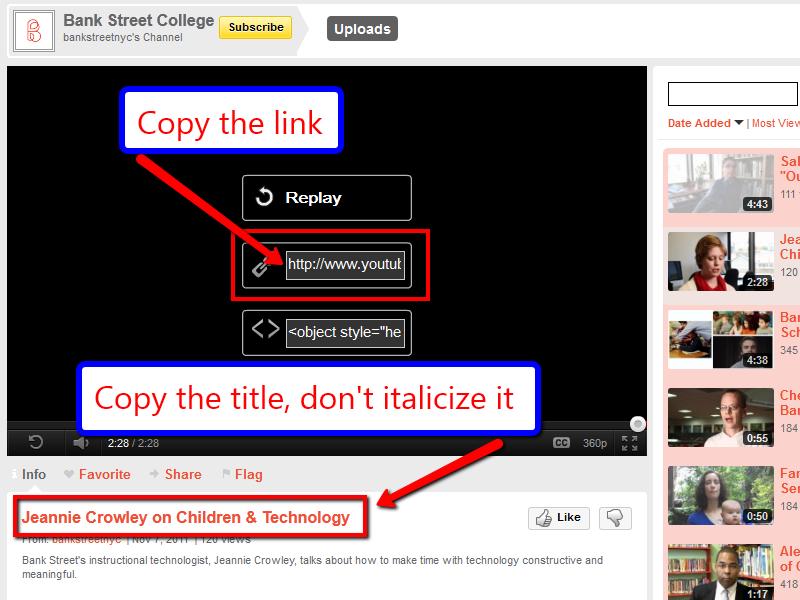 Apa Youtube Videos Bank Street Library Blog
