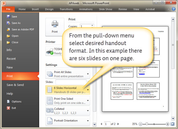 Making a PowerPoint presentation handout: Options