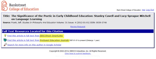 Google Scholar links pop-up box