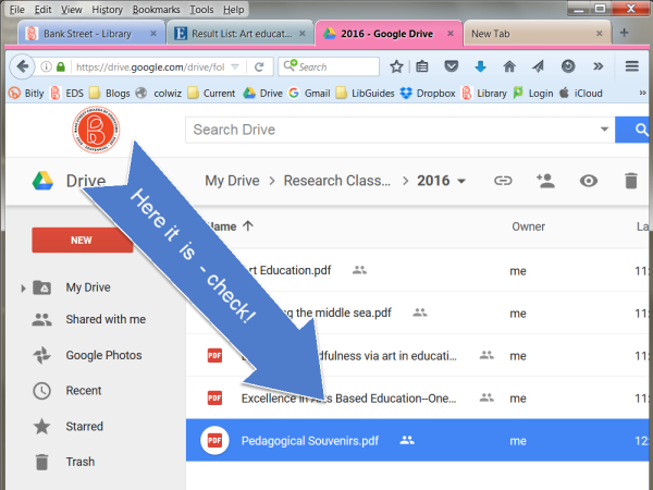 Uploading Articles from EDS to Google Drive   Bank Street